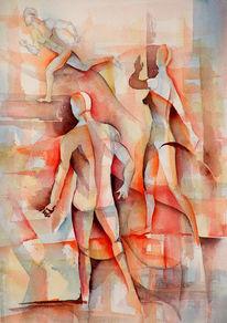 Mann, Aquarellmalerei, Laufen, Menschen