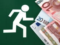 Geldscheine, Nachlaufen, Schild, Währung