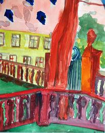 Aquarellmalerei, Kloster, Malerei