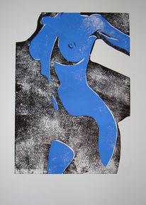 Frau, Körper, Akt, Linoldruck