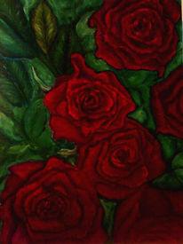 Stillleben, Rot, Grün, Rose