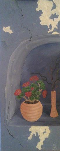 Wand, Stillleben, Putz, Blumen