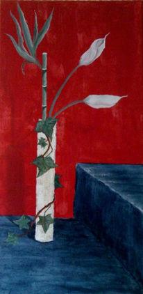 Malerei, Calla, Stillleben, Rot