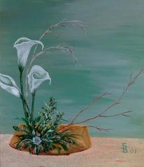Weiß, Grün, Blumen, Malerei