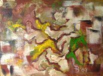 Acrylmalerei, Abstrakt, Erde, Braun