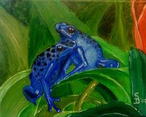 Malerei, Frosch, Grün, Blau