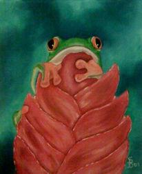 Malerei, Rot, Frosch, Grün
