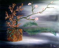 Malerei, Kirschblüte, Stillleben, Ikebana