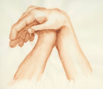Grafik, Hände, Braun, Aquarellmalerei