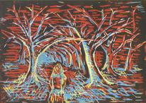 Einsamkeit, Mädchen, Surreal, Wald