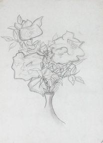 Vase, Rose, Zeichnung, Stillleben