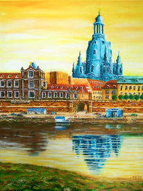 Landschaft, Terrasse, Elbe, Acrylmalerei