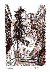 Tusche, Landschaft, Schloss, Zeichnung