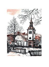 Dittersbach, Zeichnung, Landschaft, Kirche