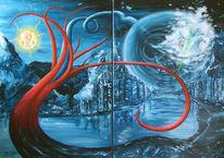 Apokalypse, Surreal, Malerei, Acrylmalerei