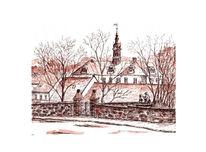 Schloss, Dittersbach, Landschaft, Tusche