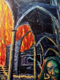 Feuer, Surreal, Kathedrale, Acrylmalerei