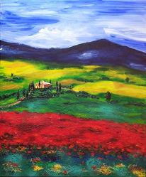 Landschaft, Toskana, Acrylmalerei, Malerei