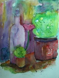 Aquarellmalerei, Grafik, Kaktus, Flasche