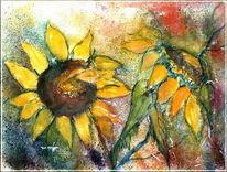 Grafik, Blätter, Aquarellmalerei, Sonnenblumen