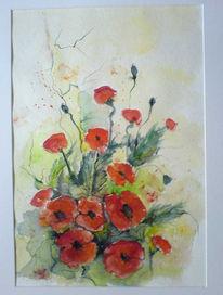 Mohn, Aquarellmalerei, Blumen, Malerei