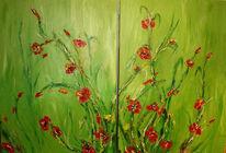 Rot, Acrylmalerei, Blüte, Grün