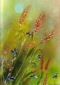 Gras, Grün, Malerei, Blüte