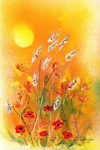 Landschaft, Malerei, Mohnblüten