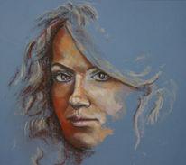 Portrait, Frauenportrait, Pastelle, Kreide