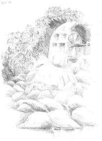 Wasserrad, Skizze, Bleistiftzeichnung, Zeichnung