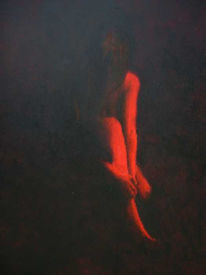 Zwielicht, Rot, Dunkel, Frau