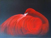 Rot, Leuchten, Zeichnung, Flamingo