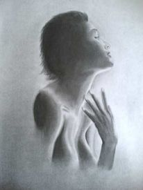 Frau, Akt, Zeichnung, Schatten