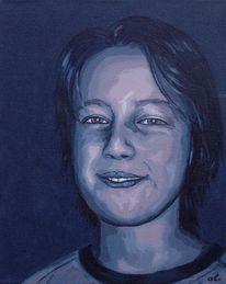 Portrait, Farben, Figural, Blau