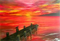 Sonne, Meer, Acrylmalerei, Sonnenaufgang