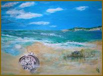 Landschaft, Meer, Acrylmalerei, Uhr
