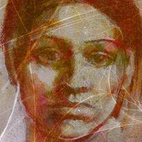 Frau, Portrait, Digitale kunst, Traurig