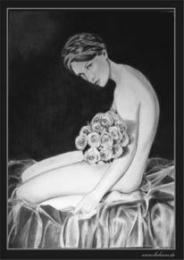 Zeichnung, Muse, Ruschig, Portrait