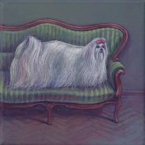 Acrylmalerei, Schreck, Hund, Chaisselong