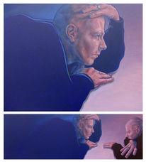 Mann, Selbstgespräch, Selbstportrait, Schreck
