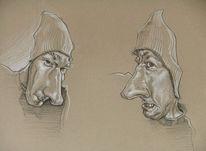 Selbstportrait, Karikatur, Grafik, Schreck