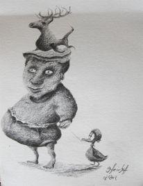Zeichnungen, Topf, Hut, Kopf
