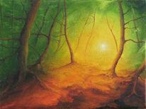 Malerei, Skizze, Waldweg