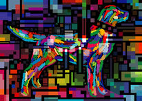 Schatten, Vektor, Hund, Virtuell
