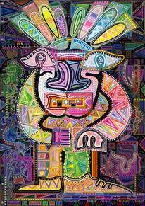 Indianer, Digigraphik, Farben, Schatten