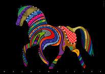 Pferde, Illustration, Farben, Anmut