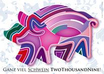 Farben, Neujahrskarte, Schwein, Figur