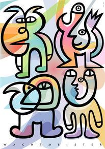Geschlossen, Gruppe, Blick, Figur