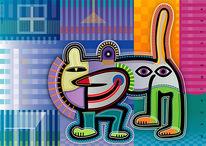 Katze, Figurativ, Farben, Collage