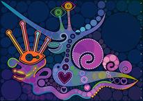 Tiefblau, Symbolik, Kreaturen, Grafik